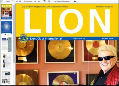 Screenshot der PDF-Version des LION im docReader von ReadSpeaker mit einzelnen Menüpunkten zur Steuerung der Vorlesefunktionen.